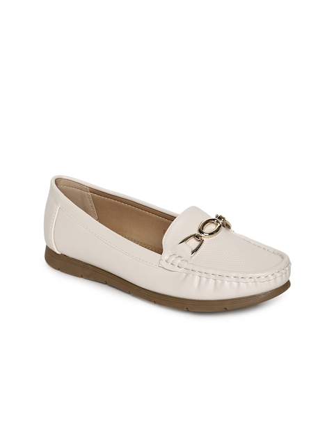 Addons Women Cream-Coloured Solid Loafers