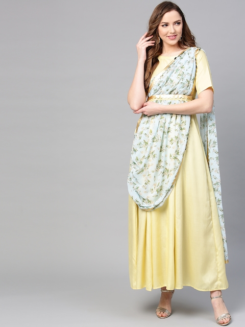 Ahalyaa Women Yellow Solid Maxi Dress with Attached Dupatta