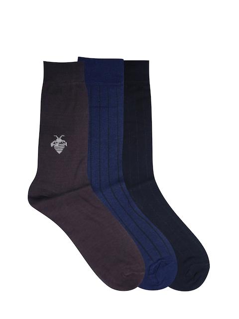 Calzini Men Pack of 3 Muticoloured Patterned Calf-Length Socks