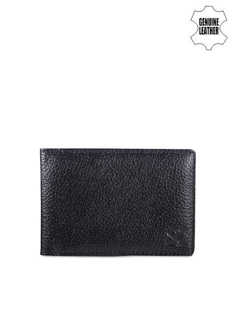 STYLER KING Men Black Solid Three Fold Leather Card Holder