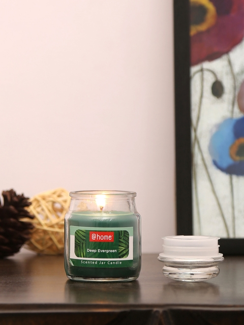 Athome by Nilkamal Set of 4 Green Deep Evergreen Jar Candles