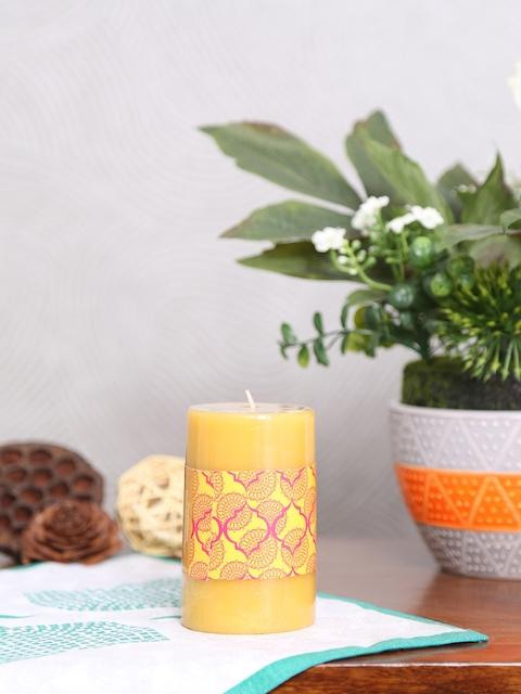 Athome by Nilkamal Set of 3 Yellow Indian Essence Pillar Candles