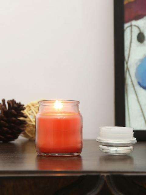 Athome by Nilkamal Set of 4 Orange Tangerine Bliss Jar Candles