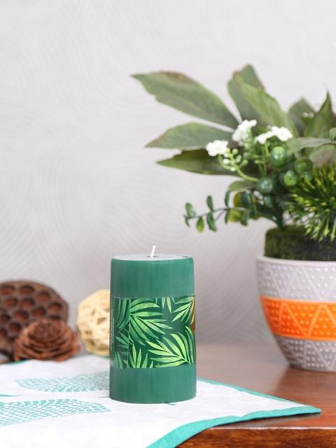 Athome by Nilkamal Set of 3 Green Rustic Deep Evergreen Pillar Candles