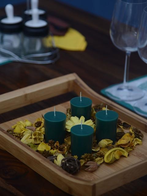 Athome by Nilkamal Set of 3 Green Votive Deep Evergreen Pillar Candles