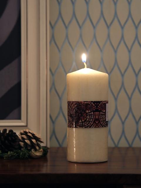 Athome by Nilkamal Set of 2 Beige Vanilla Pillar Candles