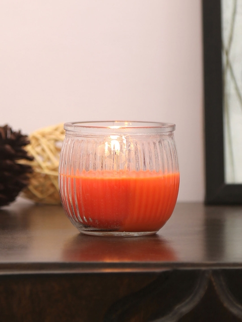 Athome by Nilkamal Set of 6 Orange Tangerine Bliss Swirl Cup Candles