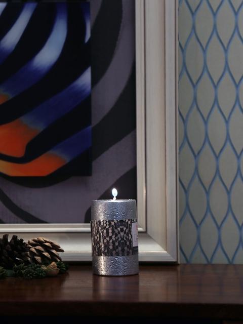 Athome by Nilkamal Set of 2 Silver-Toned Enchanted Pillar Candles