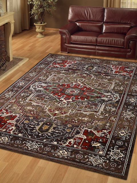 OBSESSIONS Brown Printed Carpet