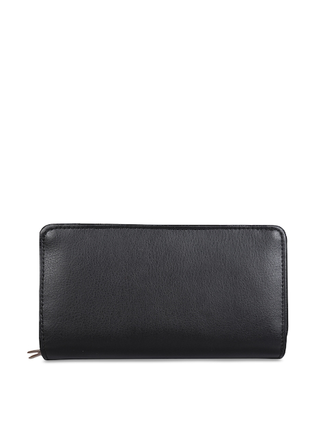 Anekaant Women Black Solid Zip Around Wallet