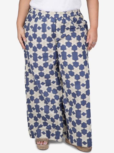 TALINUM Women Blue & Off-White Printed Wide Leg Palazzos