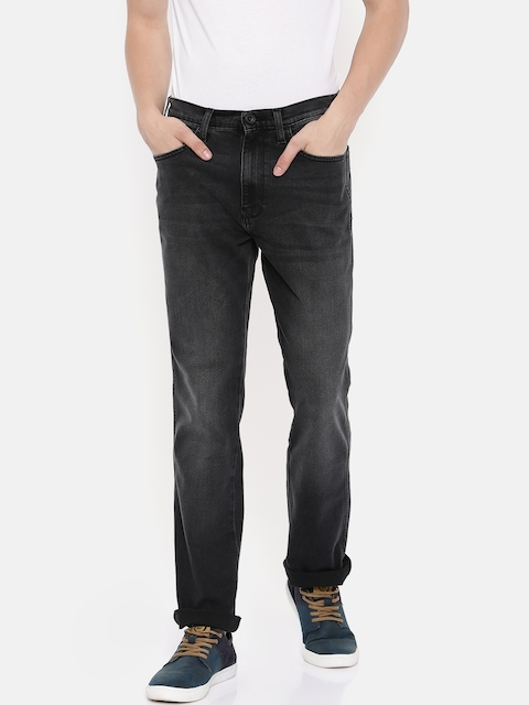 Wrangler Men Black Texas Straight Fit Mid-Rise Clean Look Stretchable Jeans