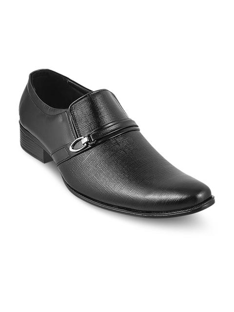 Metro Men Black Leather Formal Slip-Ons
