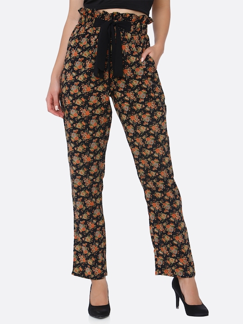 aaliya Women Brown Tapered Fit Floral Print Peg Trousers