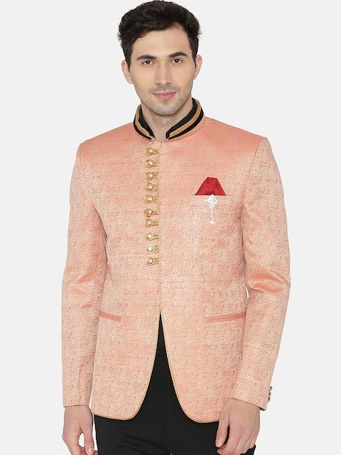 Wintage Men Pink Self-Design Nehru Jacket