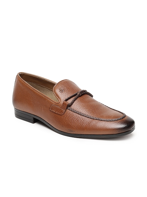 Arrow Men Tan Brown Leather Formal Slip-On Shoes