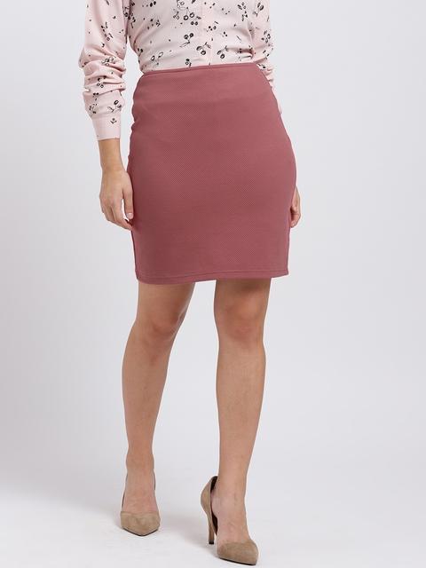 Trend Arrest Women Coral Pink Mini Pencil Skirt