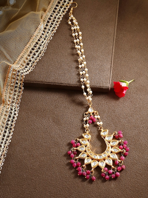 Bamboo Tree Jewels Pink & Gold-Toned Kundan Maang Tika
