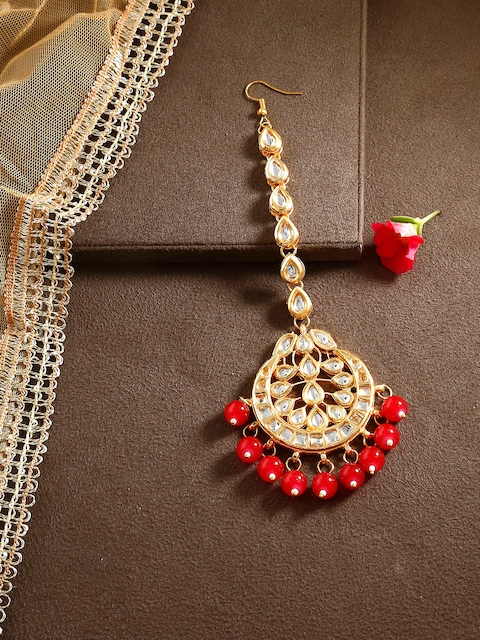 Bamboo Tree Jewels Red & Gold-Toned Kundan Maang Tika