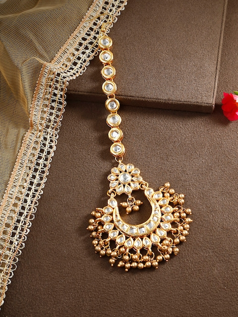 Bamboo Tree Jewels Gold-Toned Kundan Maang Tika