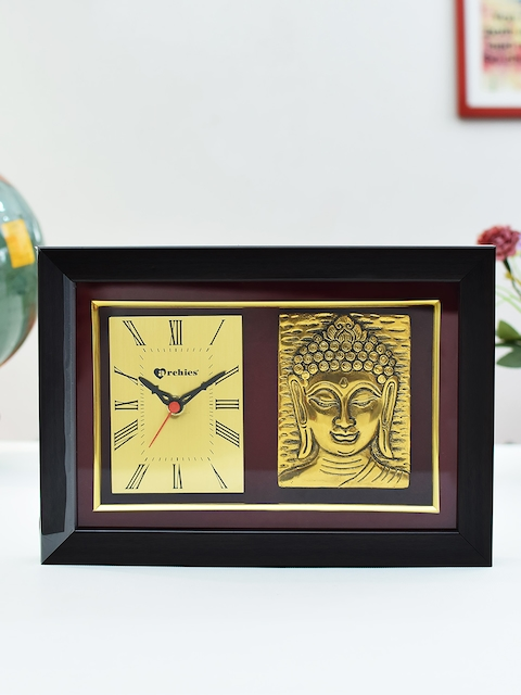 Archies Brown Rectangle Solid Analogue Table Clock