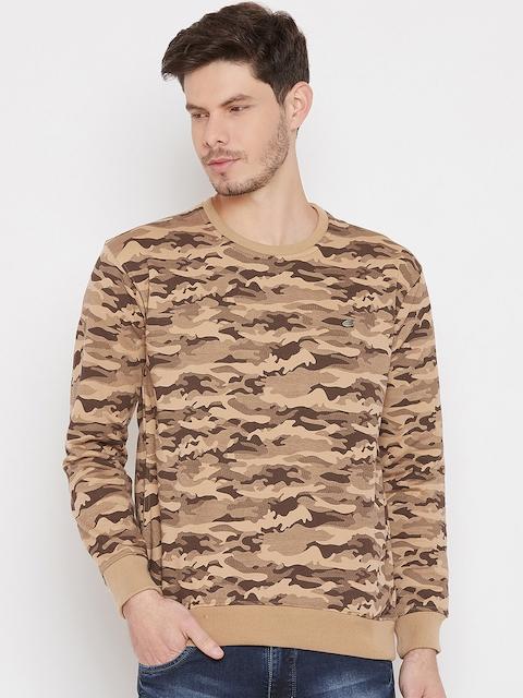 Duke Men Beige & Brown Camouflage Print Sweatshirt