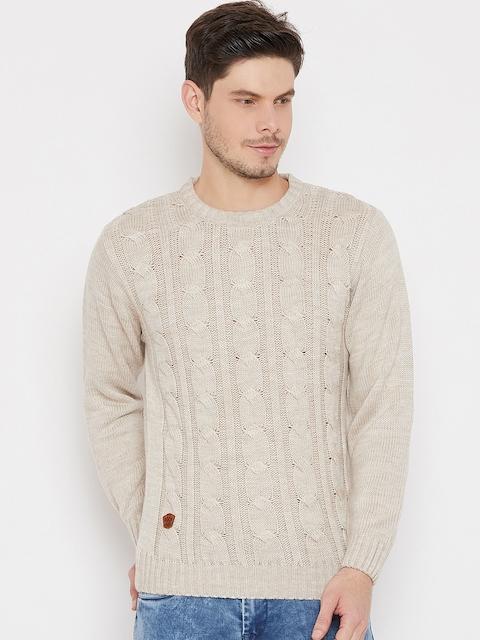Duke Men Beige Self Design Pullover