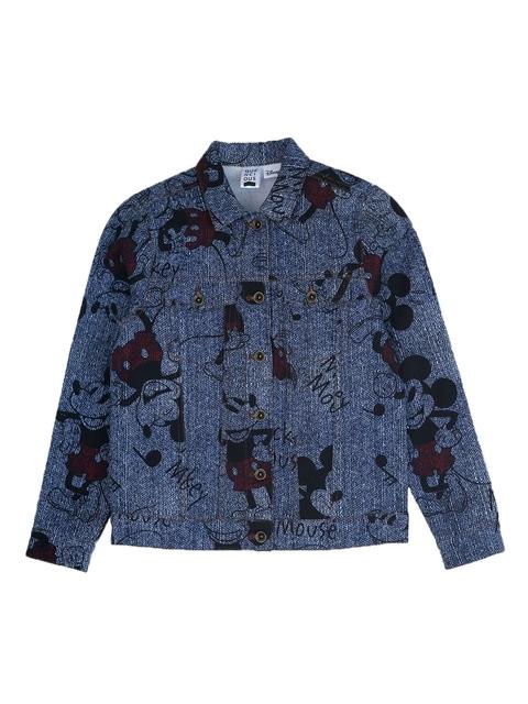 QUANCIOUS Kids Blue Printed Lightweight Denim Jacket