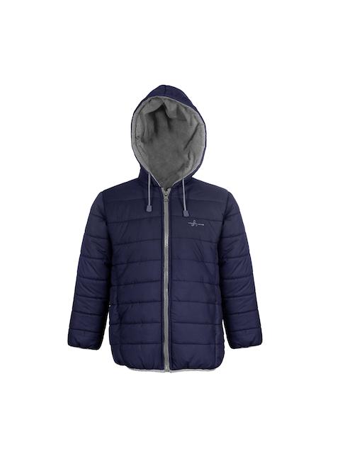 naughty ninos Unisex Navy Blue Solid Lightweight Open Front Jacket