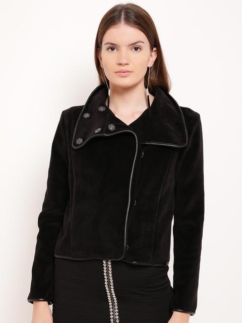 Kazo Women Black Solid Open Front Jacket