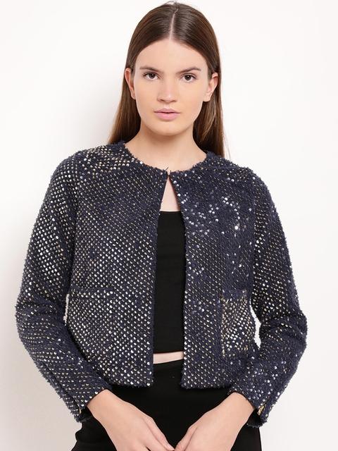 Kazo Women Blue Solid Open Front Jacket