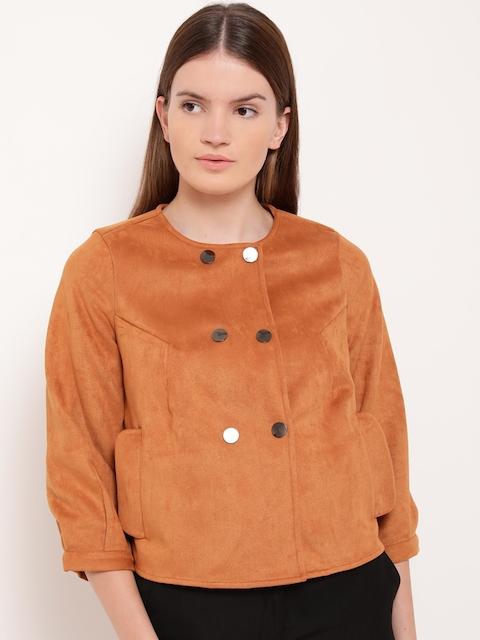 Kazo Women Tan Brown Solid Open Front Jacket