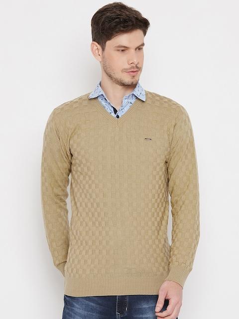 Duke Men Beige Solid Woolen Pullover