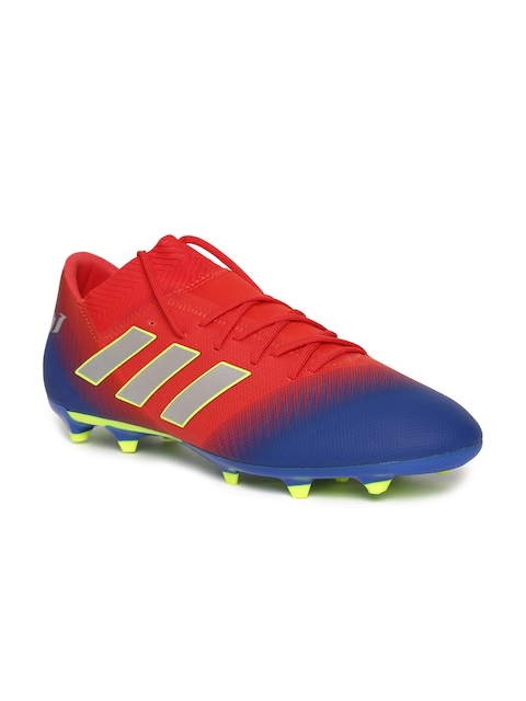 ADIDAS Men Red & Blue NEMEZIZ Messi 18.3 FG Colourblocked Football Shoes