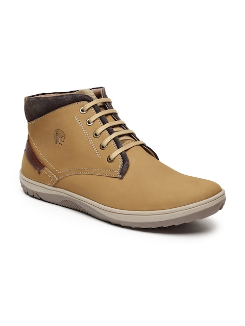 Red Chief Men Camel Brown Leather Mid-Top Flat Boots