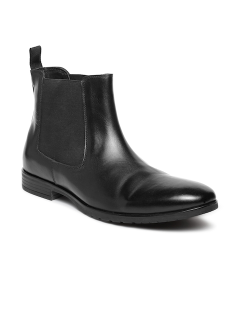 Teakwood Leathers Men Black Solid Leather High-Top Flat Boots