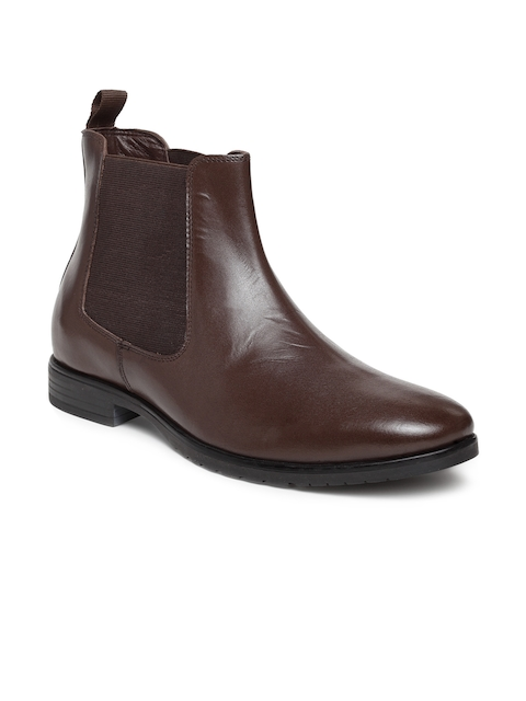 Teakwood Leathers Men Brown Solid Leather High-Top Flat Boots