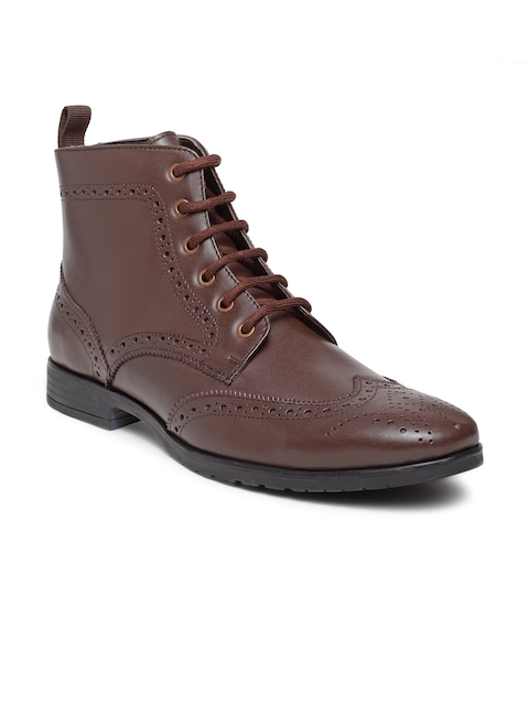Teakwood Leathers Men Brown Perforated Leather High-Top Flat Boots