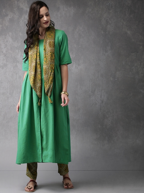 Anouk Women Green & Mustard Yellow Solid Kurta with Trousers & Scarf
