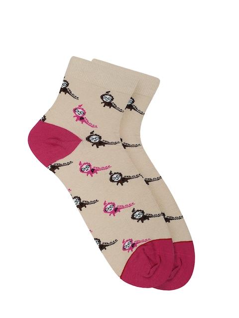 Soxytoes Women Beige & Pink Ankle-Length Socks