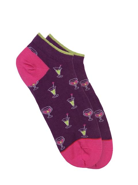 Soxytoes Women Purple Patterned  Ankle-Length Socks