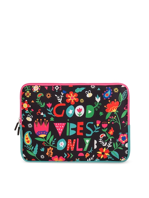 Chumbak Unisex Black Printed Laptop Sleeve