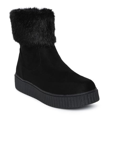 Catwalk Women Black Solid High-Top Flat Boots