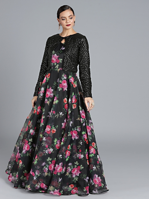 Bollywood Vogue Black Custom Made Printed Made to Measure Cocktail Gown with Jacket