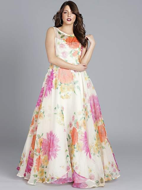 Bollywood Vogue Off-White Printed Boat Neck Custom Designed Made to Measure Cocktail Gown