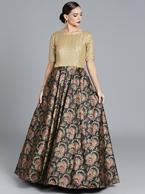 Bollywood Vogue Black & Gold-Toned Customised Printed Made to Measure Cocktail Gown