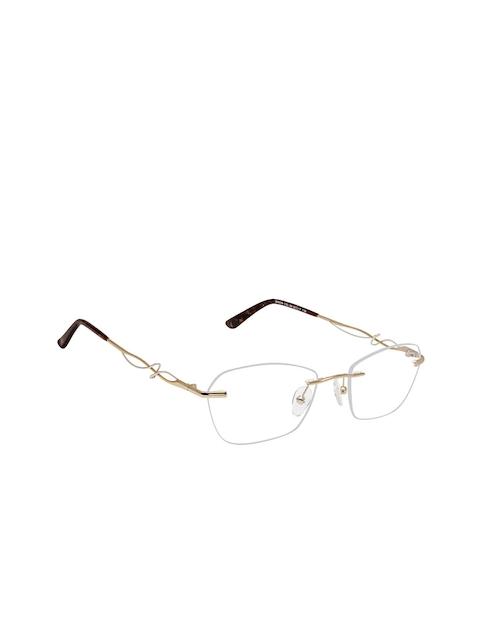David Blake Women Gold-Toned & Brown Solid Rimless Cateye Frames