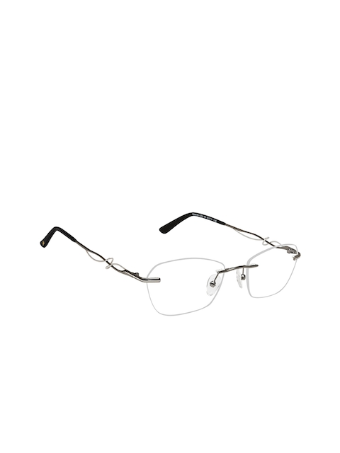 David Blake Women Silver-Toned Solid Rimless Oval Frames EWDB1694LN300039C3