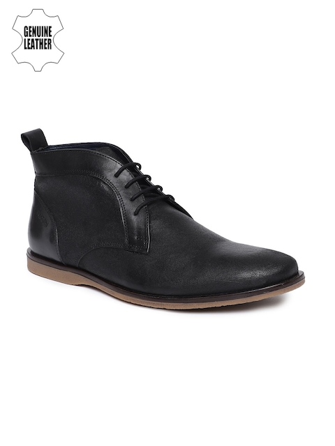 Ruosh Men Black Solid Leather Mid-Top Flat Boots