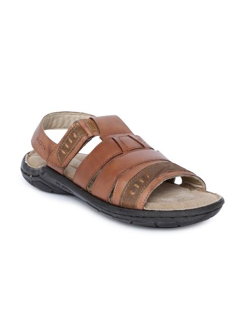 Ruosh Men Tan Brown Leather Comfort Sandals